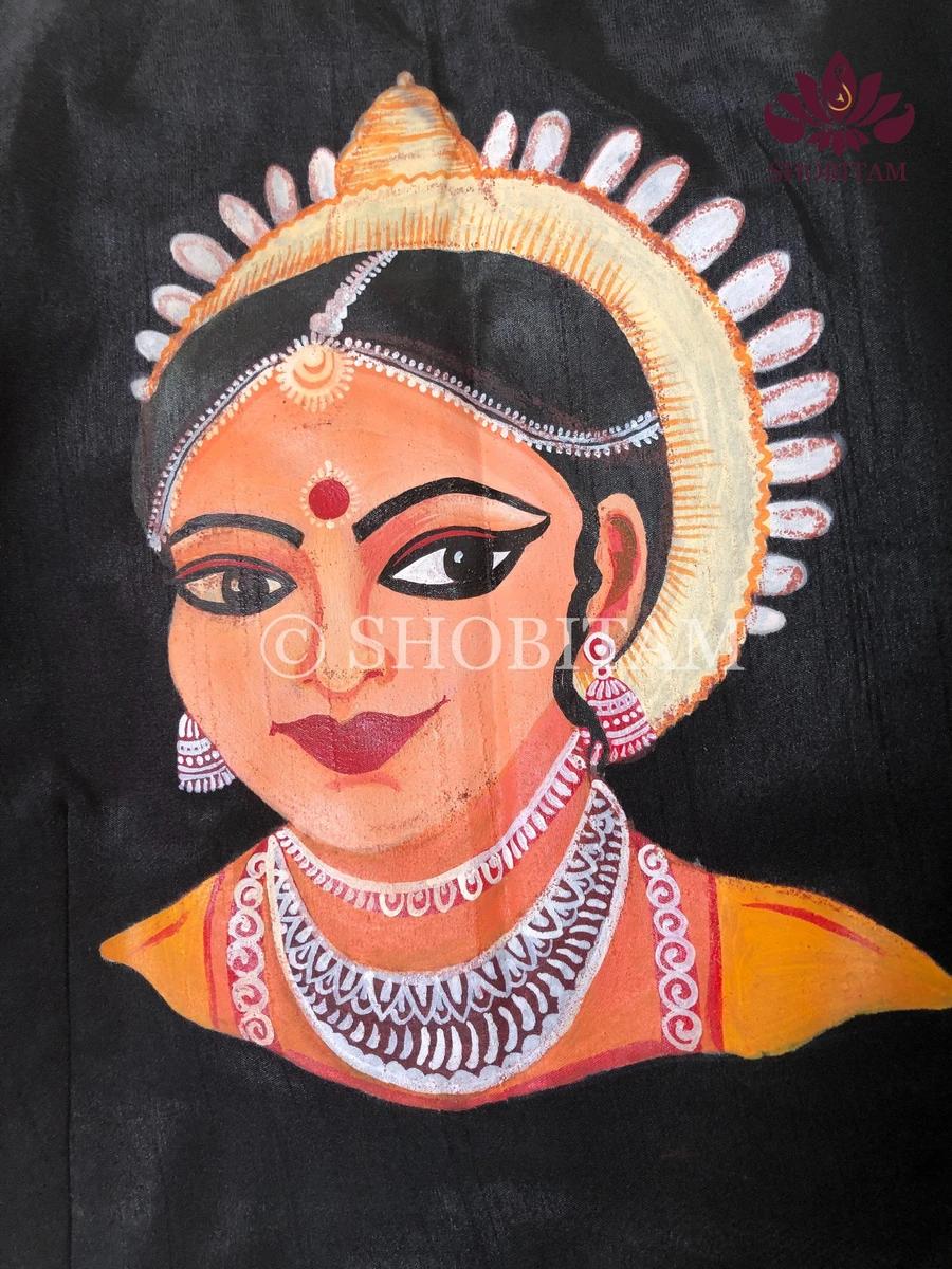 navaratri Saree Shobitam Saree Magnificent Durga with Shloka on Saree Statement Handpainted Saree I Pujo Saree