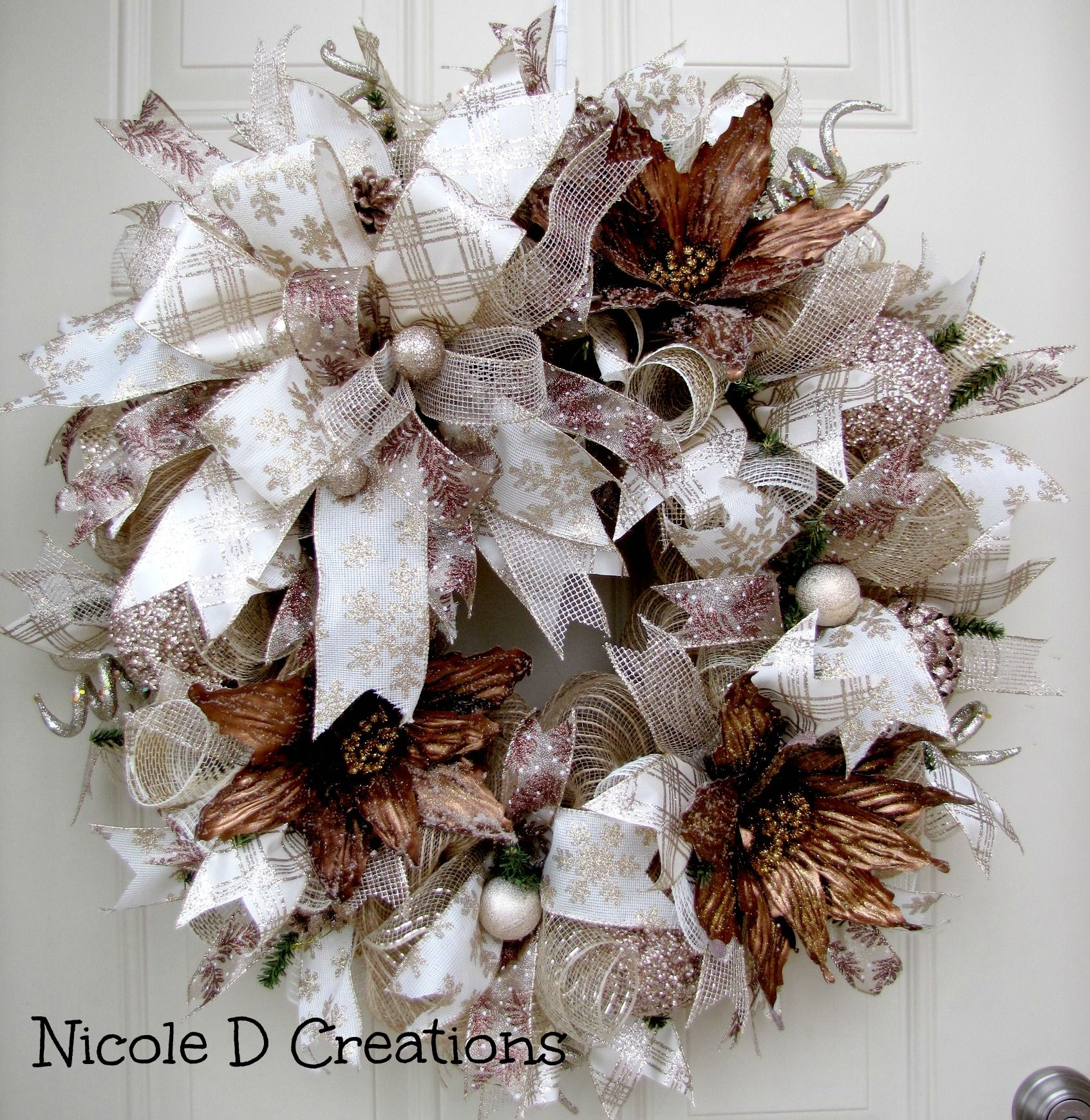 Brown And Champagne Christmas Wreath By Nicole D Creations