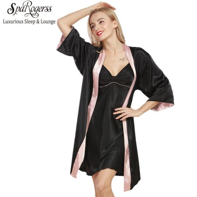 Ladies Robe Gown Set New Designer Silky Women Bathrobe Dressing Gown ...