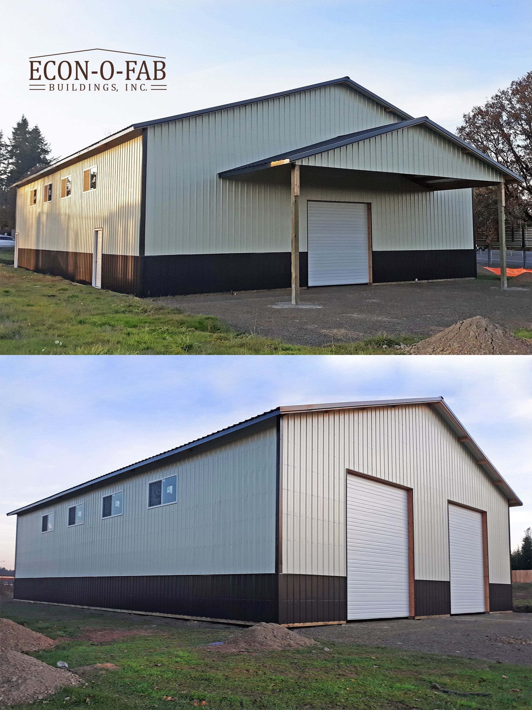 Here Is A 50 X 72 X 16 Pole Building With A 30 X 12 Gable End
