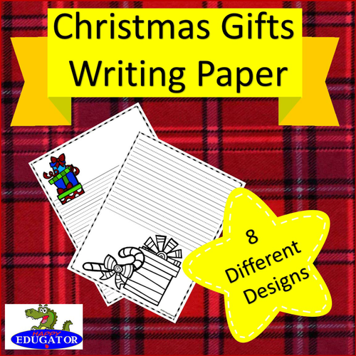 Paper Lined Christmas Gift Writing Paper  Lined Paper  Christmas Present Theme .