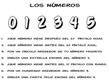 Follow Directions w Number & Monsters in Spanish $