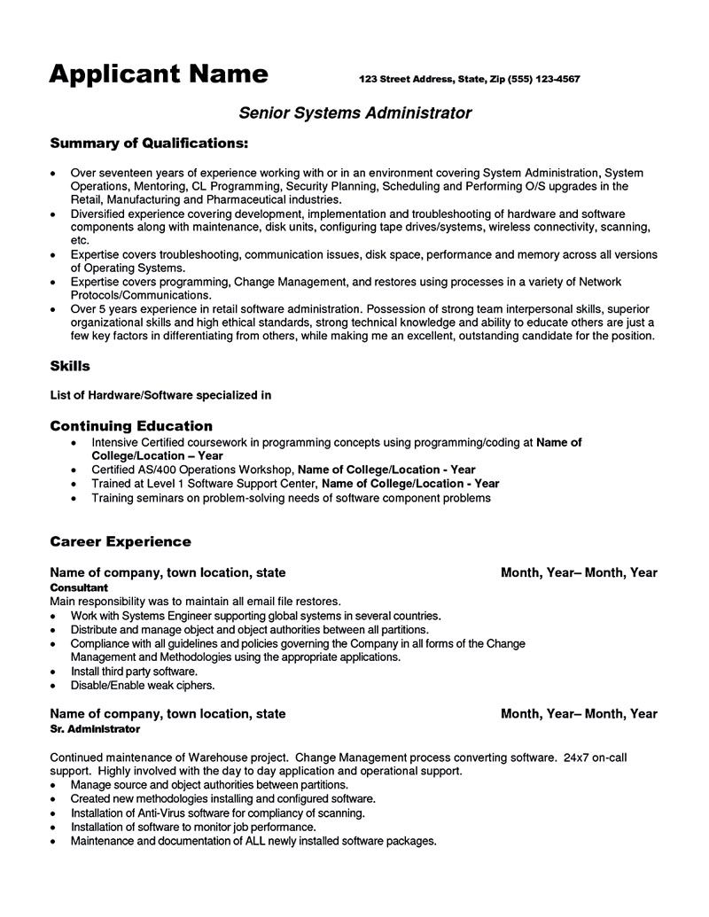 System administrator resume includes a snapshot of the for Business administration resume skills