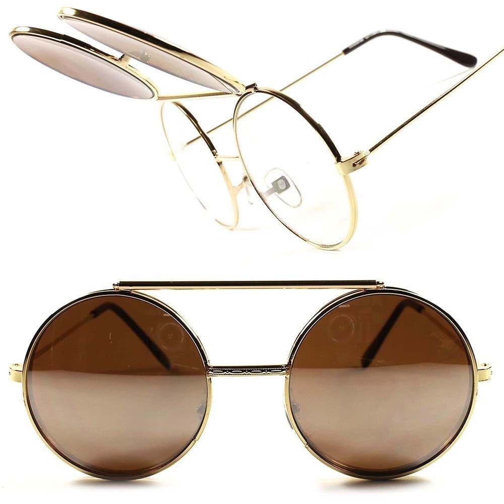 4f1b2028ed1d Classic Vintage Retro Mirrored Mens Womens Round Flip Up Django Sunglasses  D5A  KISS  Round