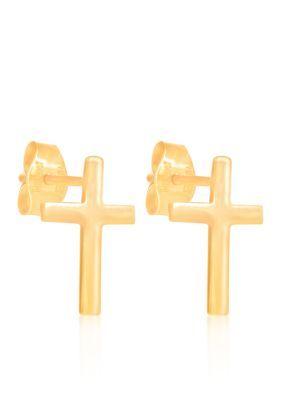 Belk  Co. Yellow Gold 10k Yellow Gold Cross Stud Earrings