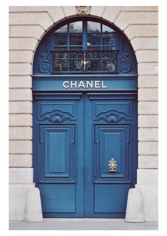 Photo of Chanel shop front art photography blue designer home decor pretty chic elegant fashion beauty wall print