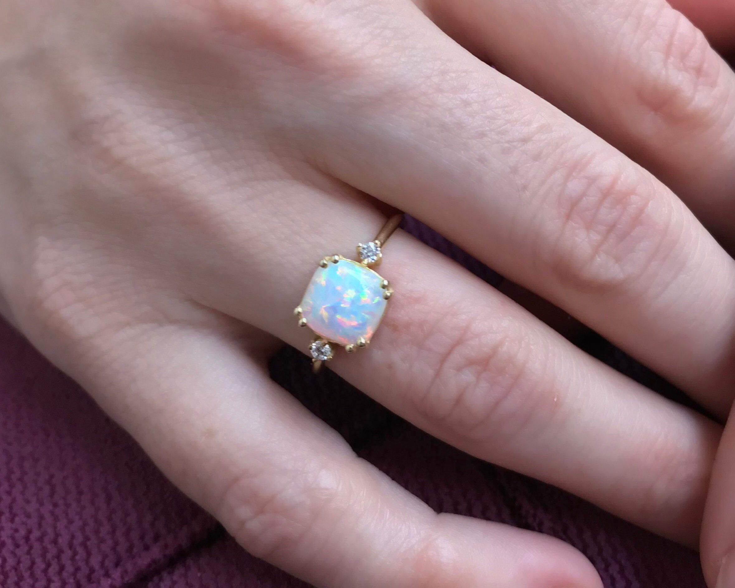 Excited to share the latest addition to my shop: 14k Gold Opal Ring / Dainty