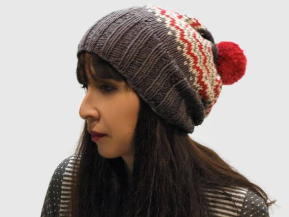 e104c7d49e7 Brown Knit women hat   knit fair isle hat   winter hat   knit wool hat    knit brown red cream pom pom hat   gift for her   rolled brim hat by Peppe…