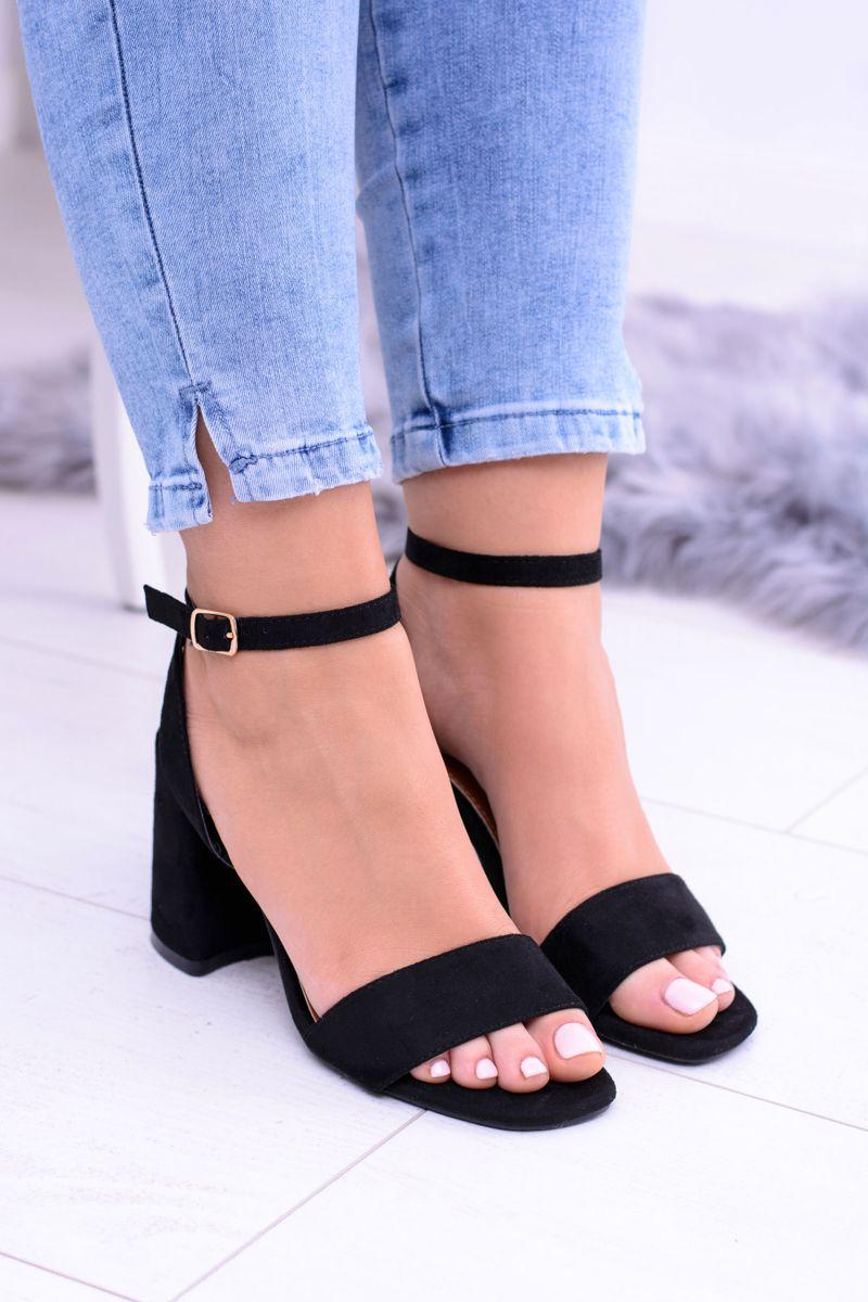 Damskie Czarne Sandaly Na Slupku Naoko Shoes Heels Heeled Mules