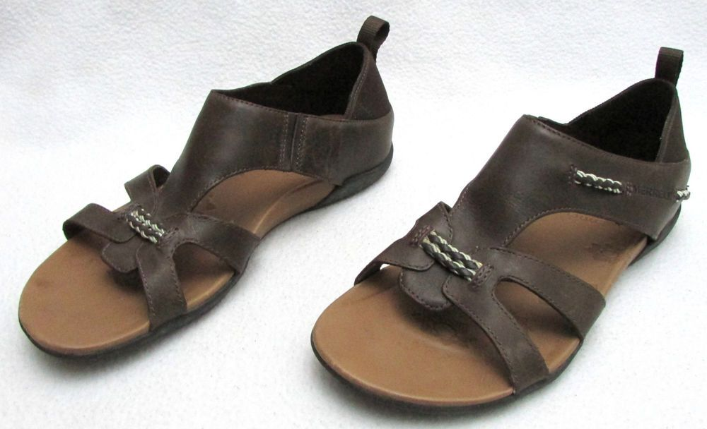 ea03784cc8b6 Merrell Flaxen Espresso Dark Brown Leather Sandals Gladiator Open Toe Size  8     Merrell  Gladiator  Casual