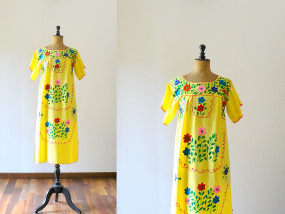 Vintage 1970s embroidered mexican style yellow by BottegaVintage