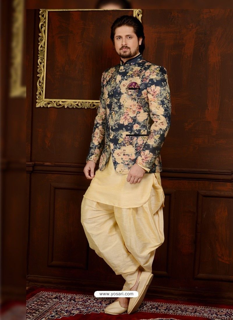 e361ddffab Outstanding Beige Banarasi Silk Embroidered Kurta Pajama in 2019 ...