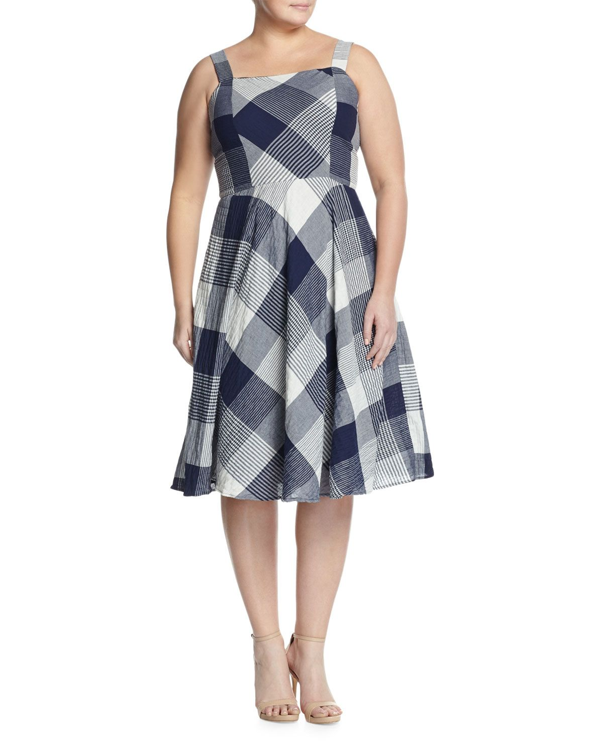 885b3484a1b Taylor Plus Sleeveless Check-Print Fit- -Flare Dress