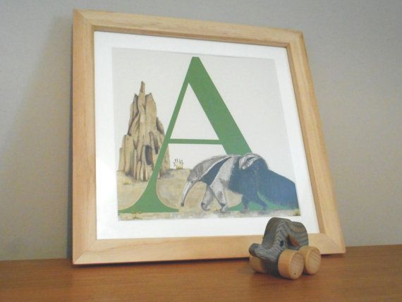 A for Anteater  Nursery Alphabet Art by huxleyjonesdesigns on Etsy