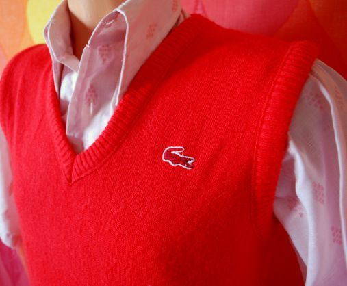 Vintage 70s Izod Lacoste Sports soft and stretchy bright red v ...