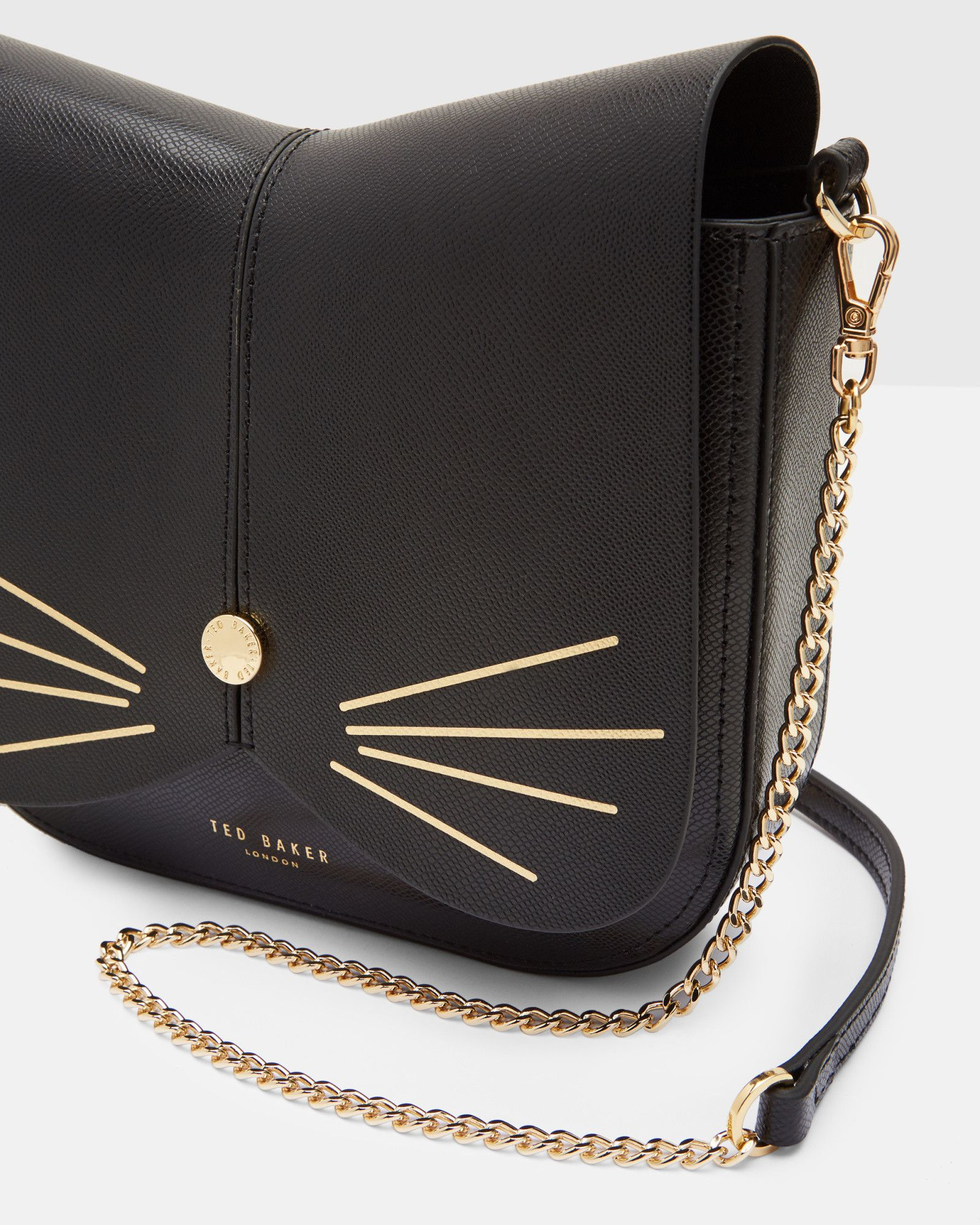 cat leather cross body bag  black  bags  ted baker uk  - cat leather cross body bag  black  bags  ted baker uk