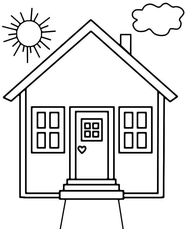Simple House Coloring Page House Colouring Pages House Drawing For Kids House Colouring Pictures