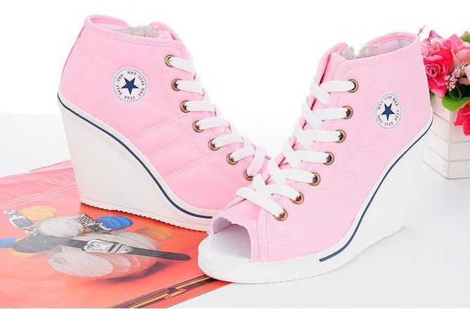 Women Wedge High Heels Sneakers Shoes Open toe WhiteBlack