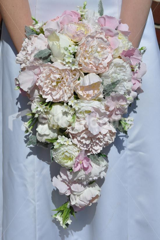 cascading wedding bouquets beautiful ivory and pale pink peony stephanotis and 2490