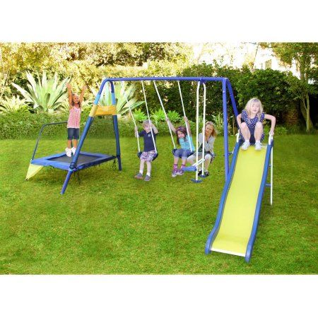 Sportspower Almansor Metal Swing Set With Glide Ride Trampoline
