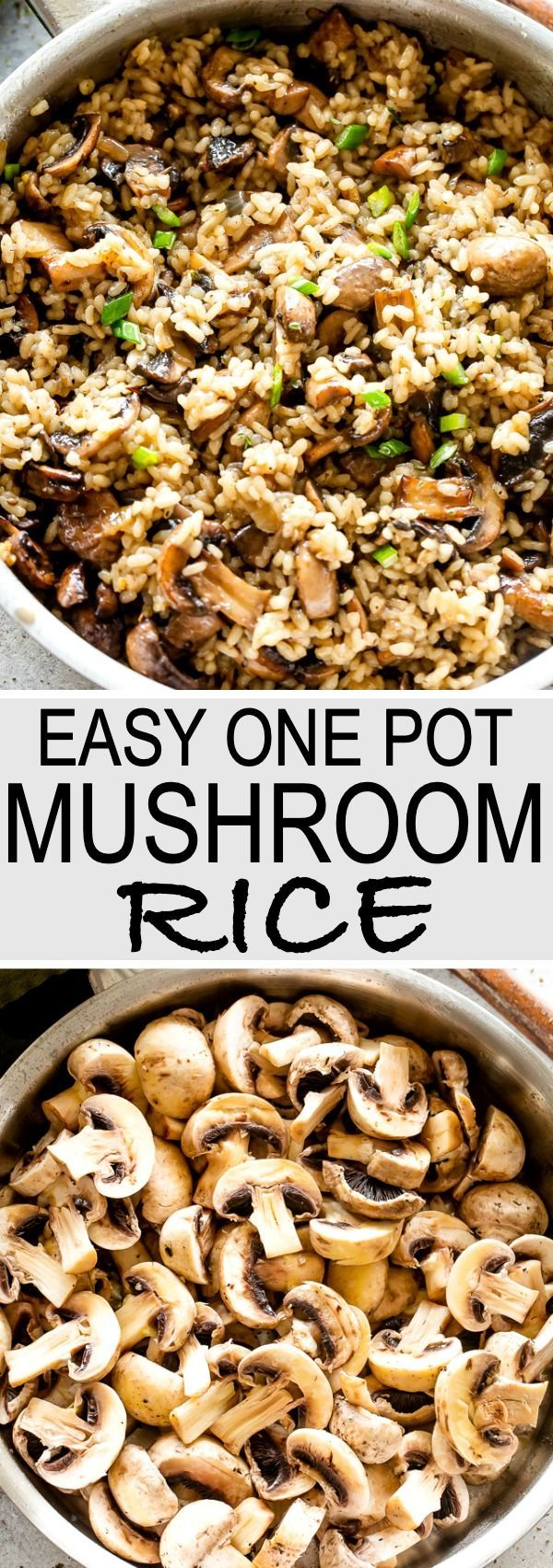 Easy One Pot Mushroom Rice  Delicious recipe for garlicky buttery rice combined with tender caramelized mushrooms A hearty comforting side dish prepared in just one pot a...