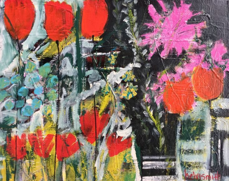 """ARTFINDER: The Inside Flowers Taunted the Outsid... by Helvi Smith - I get a kick out of painting abstract flowers.   They are not really any specific kind of flower, and that gives me the fun of painting them whilst I just """"t..."""
