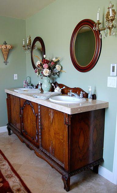 Craigslist Sideboard To Vanity Conversion Diy Sink Vanity Diy Bathroom Vanity Makeover Bathroom Vanity Makeover