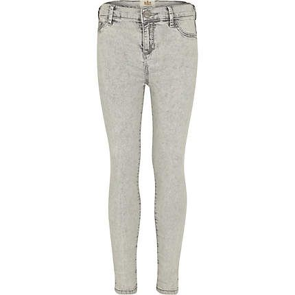 56f7527b4ecd0 Girls grey acid wash jeggings - jeans - girls
