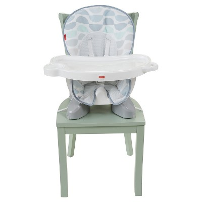 fisher price space saving high chair plastic chairs and tables for kids saver highchair crescent bliss light gray teal grey white