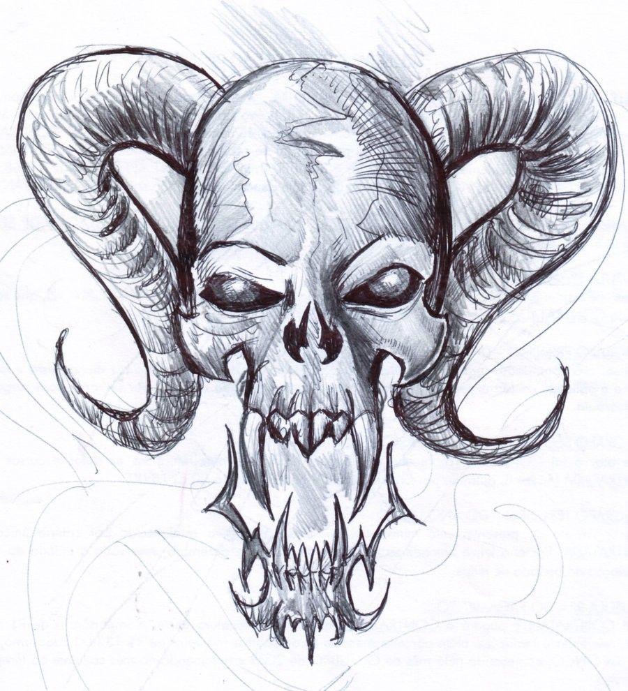 Hand drawn skull Skull drawing sketches, Cool skull