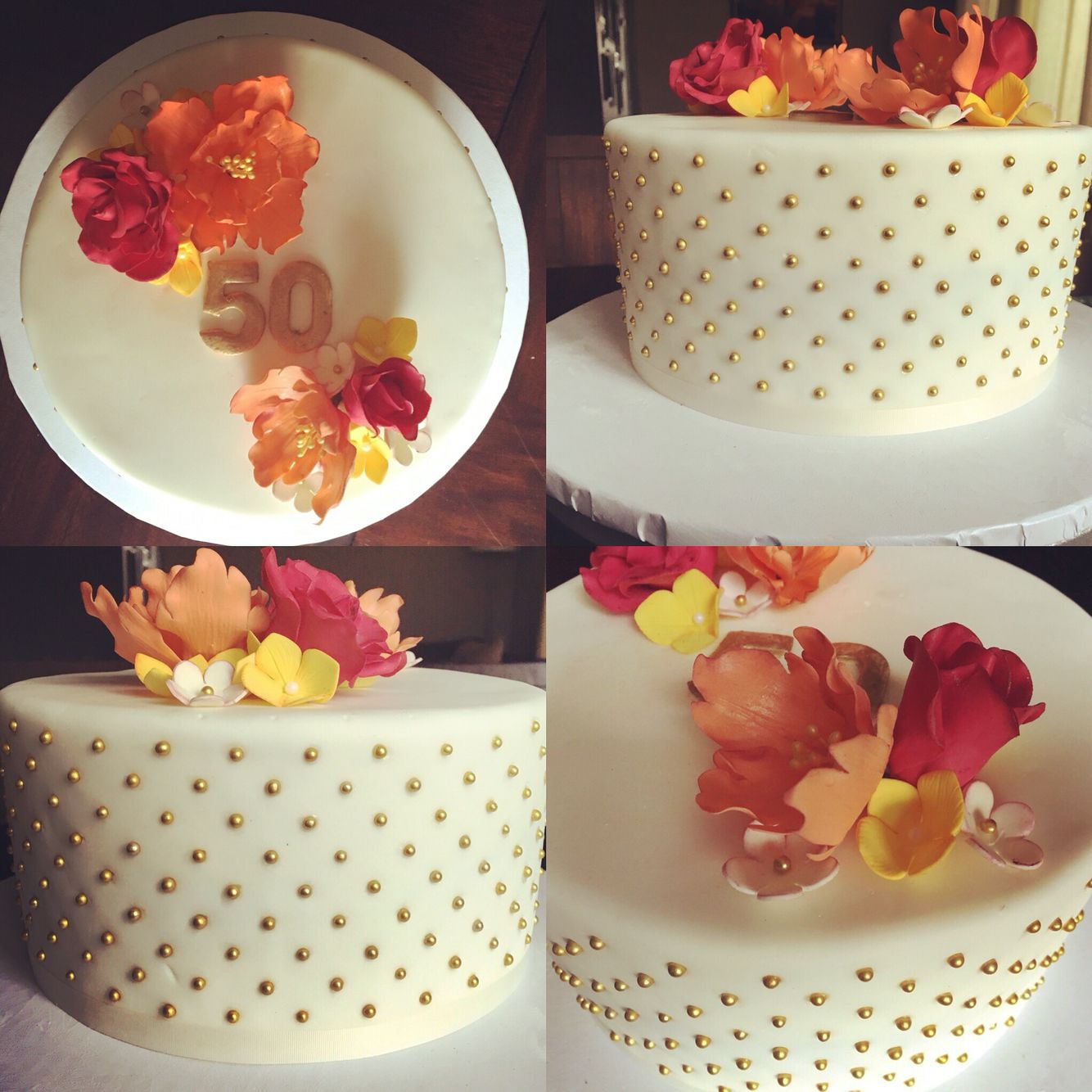 50th birthday cake bright gumpaste flowers flowers with gold