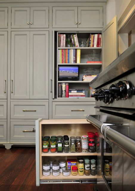 Cook Books Cabinet And Pull Out Spice Rack Right By The Stove