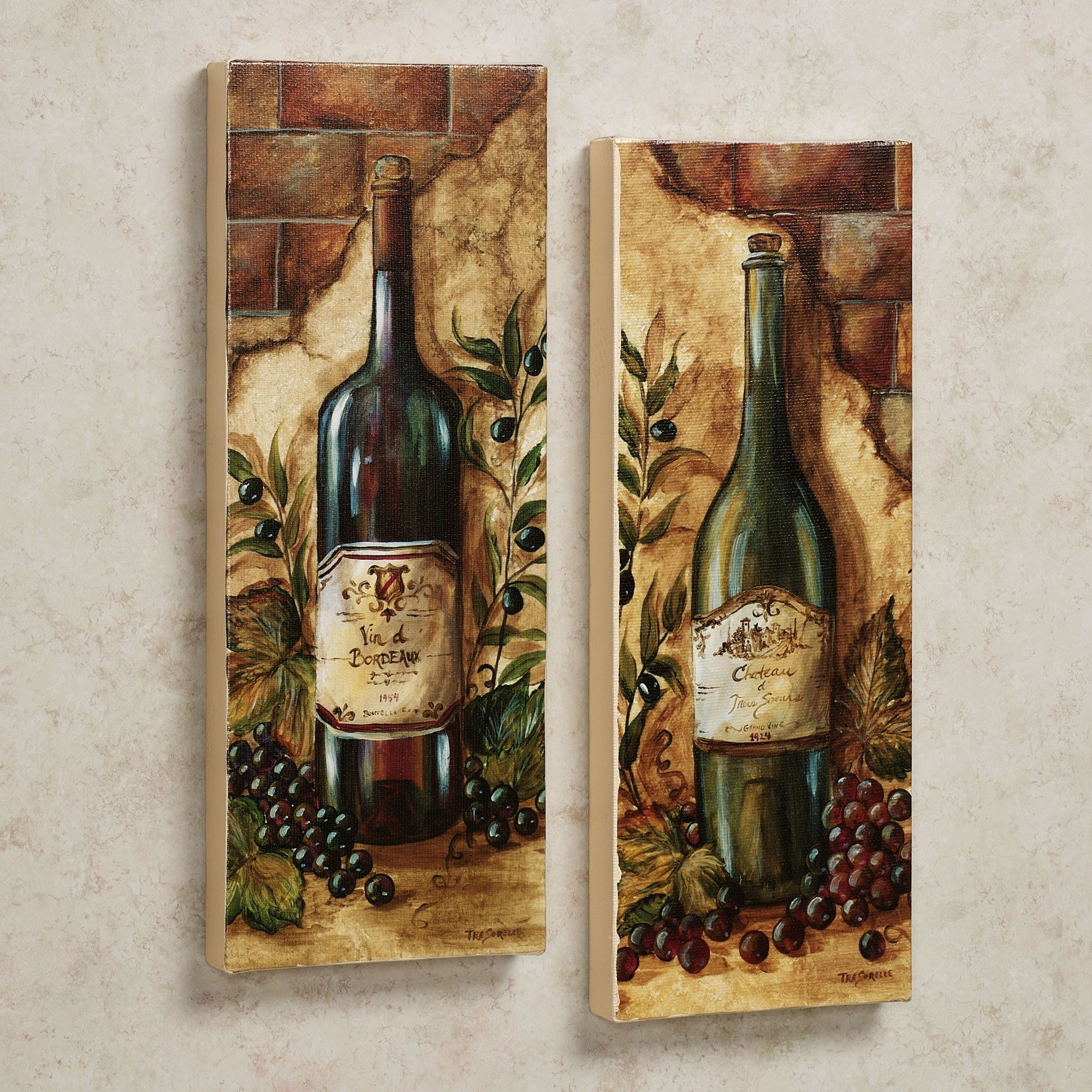 Wine Cellar 2 Piece Canvas Art Set Grape Kitchen Decor Wine Decor Kitchen Wine Wall Decor