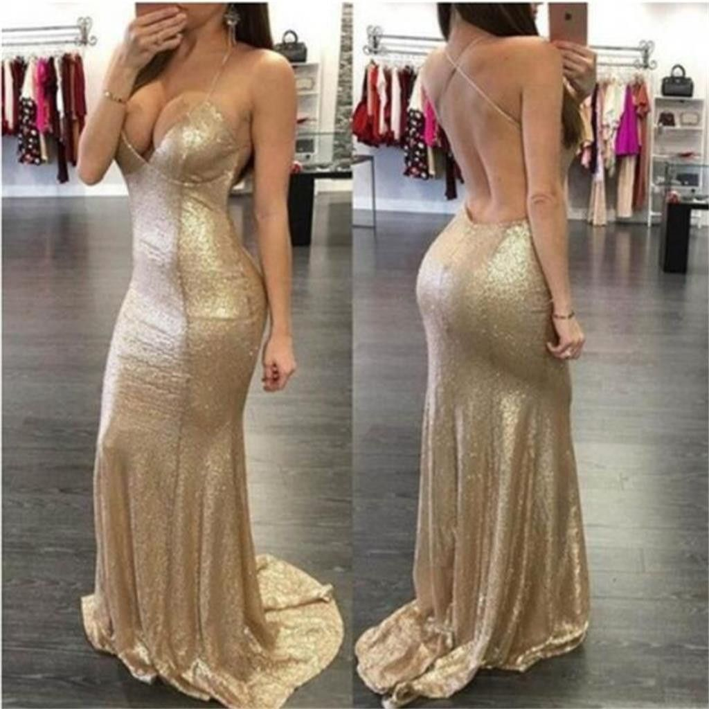 Gold sequin sexy spaghetti straps mermaid party prom dressesevening