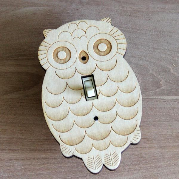 Wood Laser Cut Owl Light Switch Plate Single Switch Owls