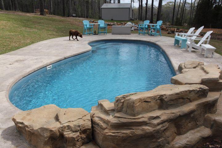 Calhoun fiberglass saltwater pool by dolphin pools of west