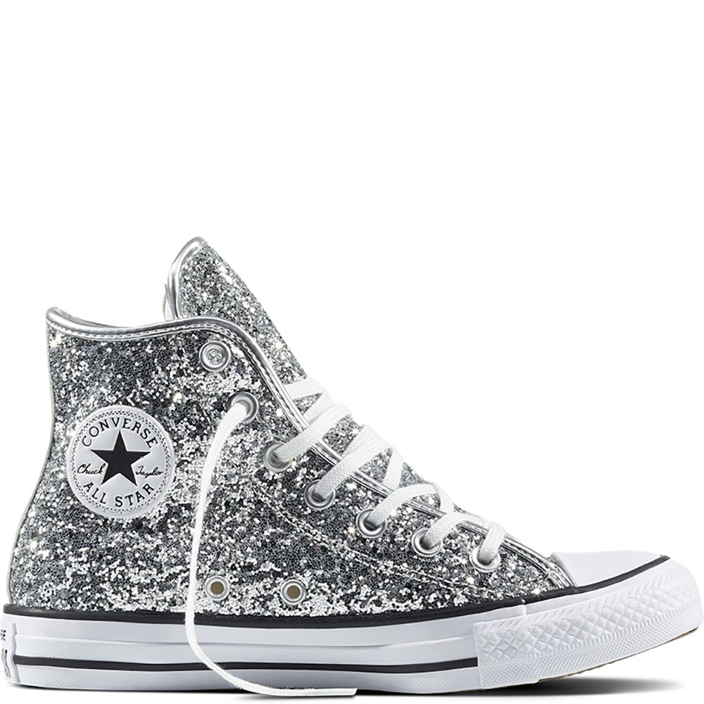a463c8b8262941 Chuck Taylor All Star Glitter Pure Silver White Black