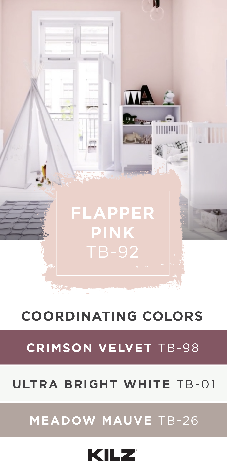 For A Pretty Color Palette That S Sure To Please Check Out These Pink Paint Colors From Kilz Tribute Flapper Girls Room Paint Room Color Schemes Room Colors