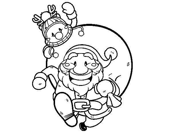 Dibujo de Papá Noel y Rudolph para colorear   navidad   Pinterest ...