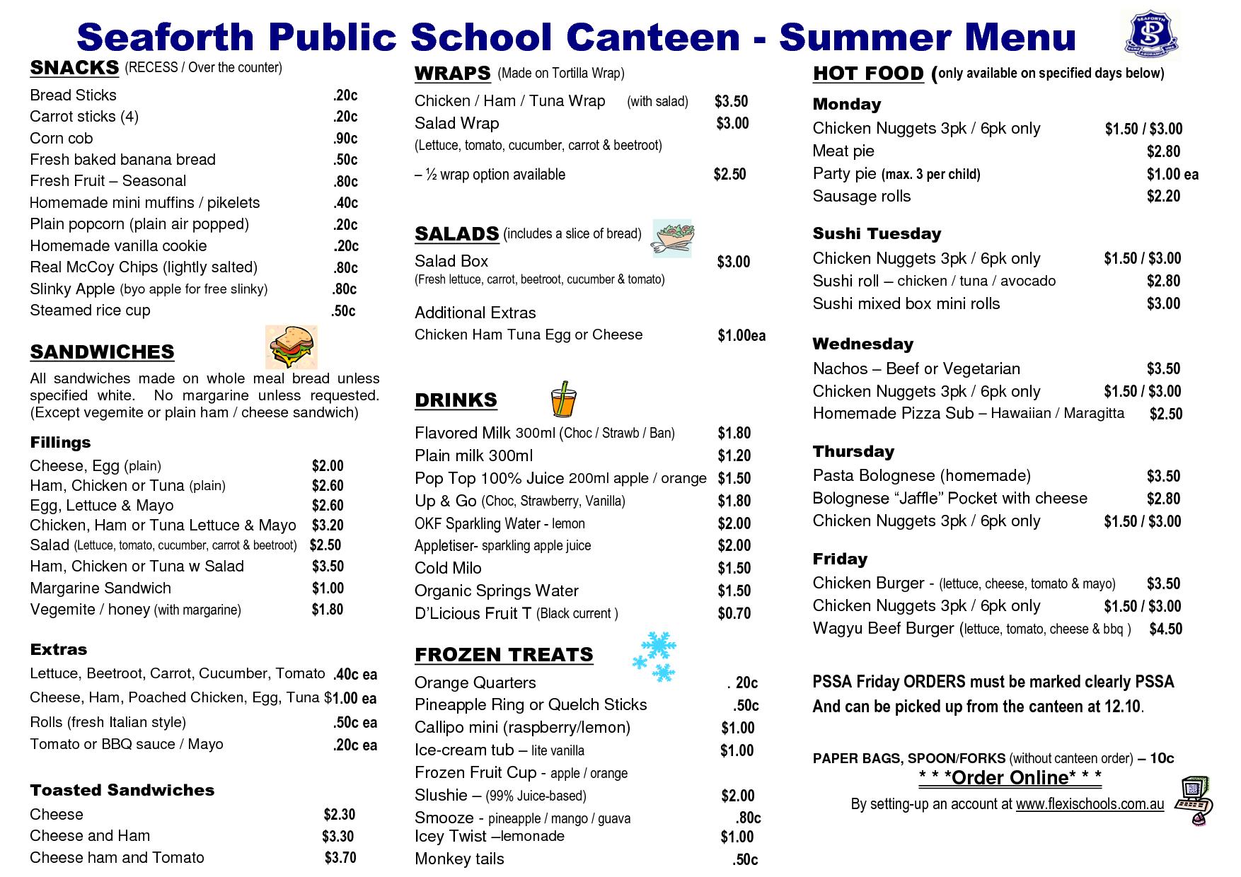 School Canteen Menus Google Search Canteen Menu School Menu Canteen