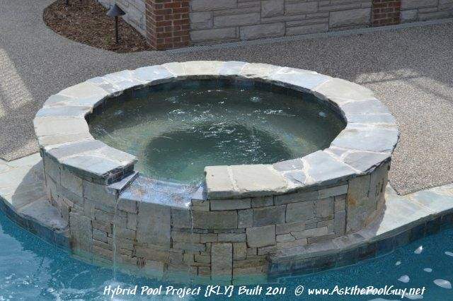 Raised spillover spa custom gunite finish 6 tile line for Swimming pool surrounds design