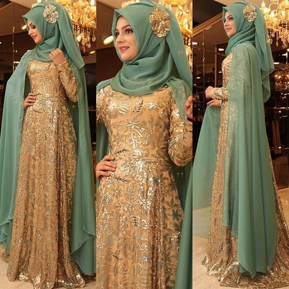 Outstanding Long Luxurious Gown with Hijab for Formal Looks \u2013 Girls Hijab  Style \u0026 Hijab Fashion Ideas