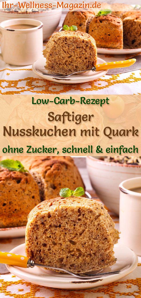Saftiger Low-Carb-Nusskuchen mit Quark - einfaches Rezept ohne Zucker