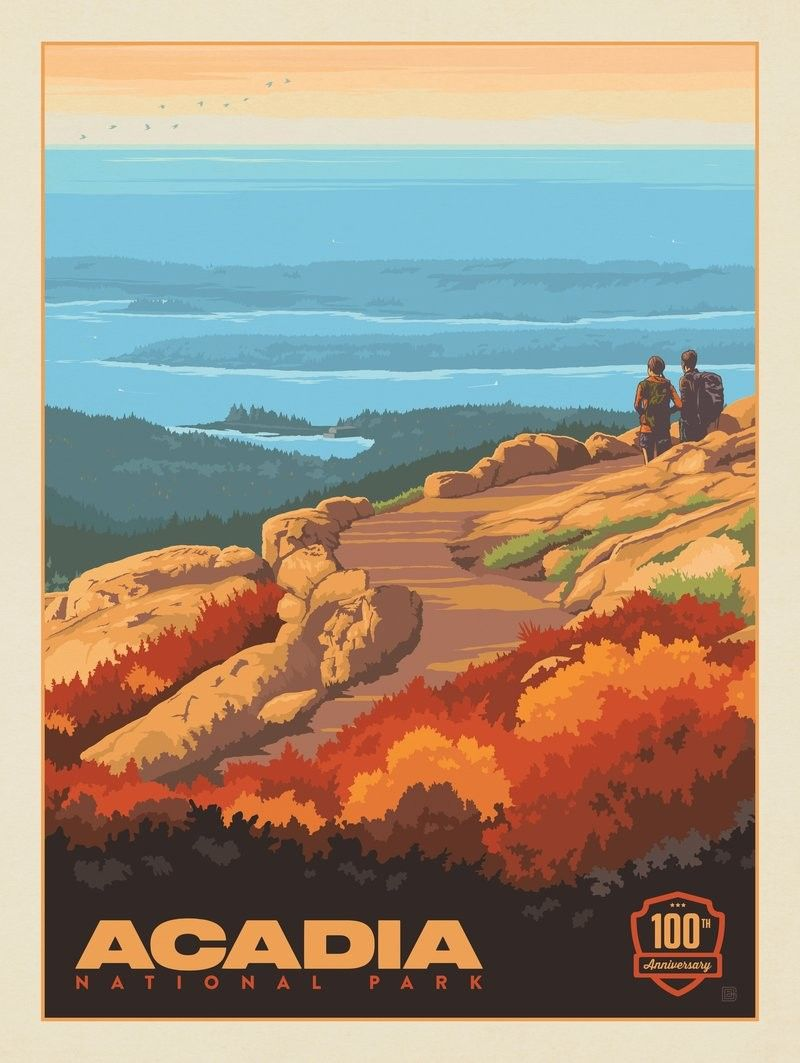 Anderson Design Group 61 American National Parks Acadia National Park 100th Anniversary Vert American National Parks National Parks National Park Posters