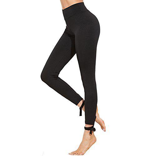 SOLYHUX Femme Leggings sculptants Pantalon taille haute femme Push-Up  ficelles Sport Yoga Collant Gainant 86f9e718921d