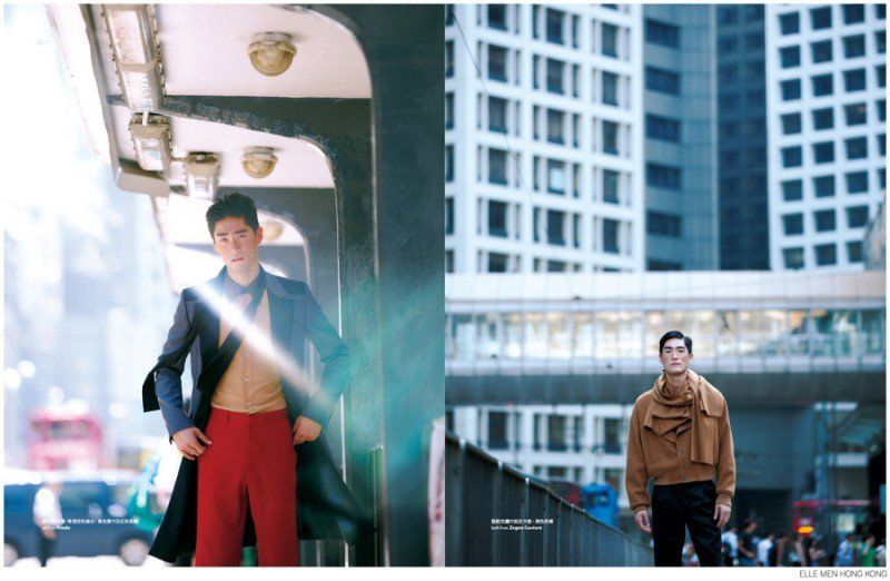Feng Xiang Models Bold Fall Fashions from Prada, Versace + More for Elle Men Hong Kong image Elle Men Hong Kong Fashion Editorial 002 800x522