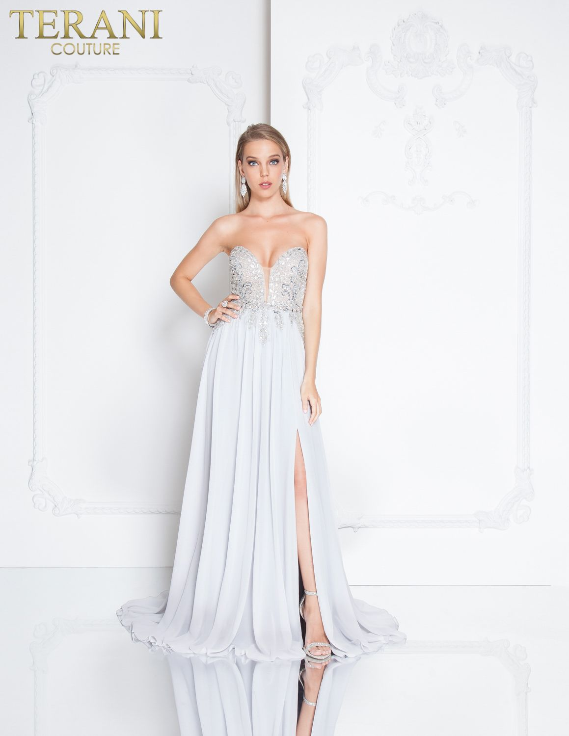 1659c40fcf Sweetheart neckline special occasion dress with intricate bodice beading  and side slit.