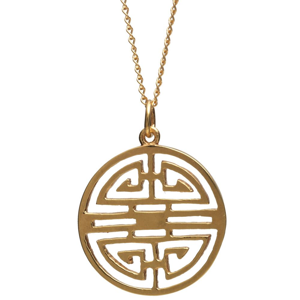 Shou pendant necklace chinese characters gold jewellery and gold jewelry this shou pendant necklace features the chinese character representing the blessing of longevity aloadofball Images