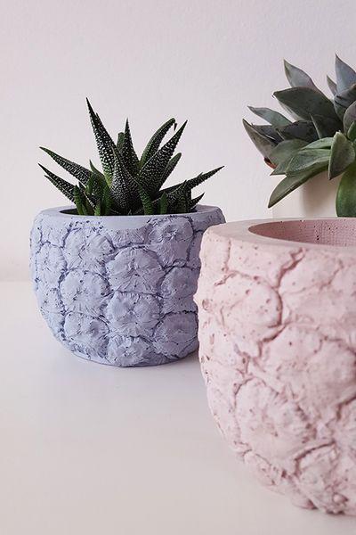 Beton Übertopf Blumentopf Topf Ananas Deko Keramik