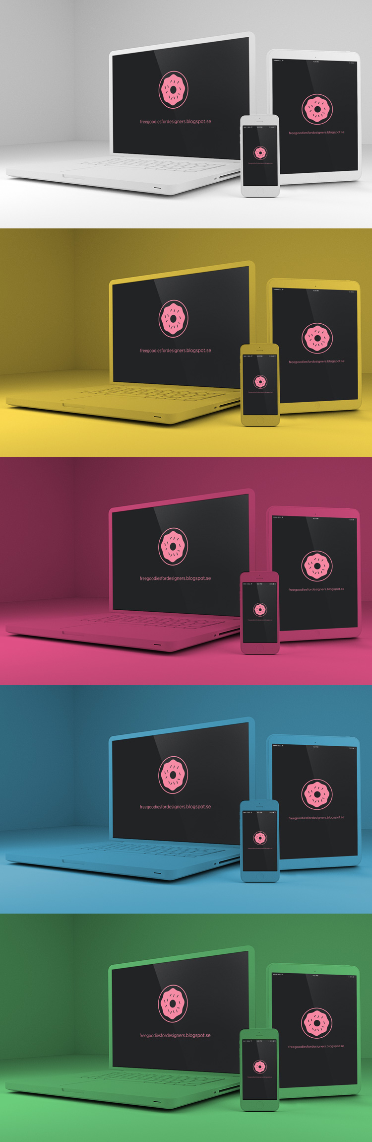 FREE devices super nice mock up in photoshop with 6 different colours white, black, orange, pink, blue and green. Everything separated in layers all the screens with simple shape layer edit format. Download Here: http://freegoodiesfordesigners.blogspot.se/2014/07/free-psd-devices-mock-up-multicolor.html  #freebie #freepsd #freegoodies #freemockup #mockup #iphone #macbook